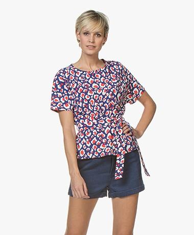 Josephine & Co Ronja T-shirt met Luipaardprint - Royal Blue