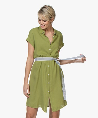 LaSalle Viscose Crepe Shirt Dress - Green