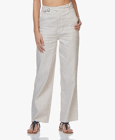 Marie Sixtine Lexie Striped Linen Blend Pants - Tea