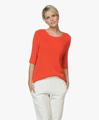 Sibin/Linnebjerg Sarno Rib Half Sleeve Pullover - Strong Orange