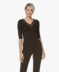 By Malene Birger Zella V-neck Lace T-shirt - Black