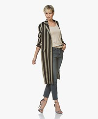 Closed Alfie Striped Twill Blazer Coat - Black