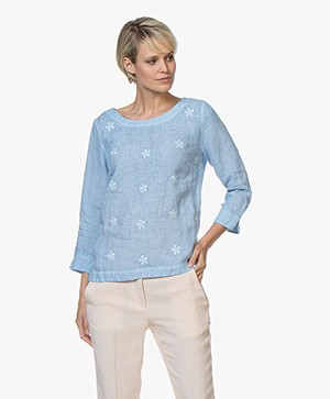 Belluna Todler Embroidered Linen Blouse - Azul Melange