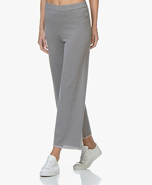 Fine Edge Knitted Cropped Wide Leg Pants - Grey