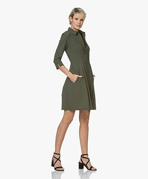 Josephine & Co Rudie Fit & Flare Travel Jersey Jurk - Army