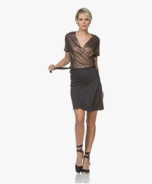Petit Bateau Linen Wrap Dress with Coating - Smoking/Copper