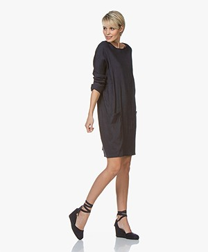 Woman by Earn Bee Stretch Linnen Jurk - Navy