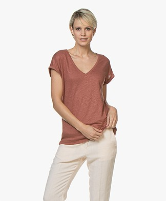 BY-BAR Mila Linnen Jersey T-shirt - Plum