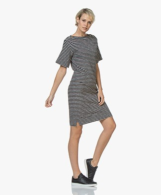 By Malene Birger Striped Boat Neck Dress - Night Sky