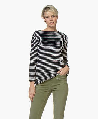 By Malene Birger Striped Boat Neck T-shirt - Night Sky