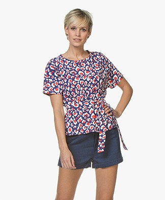 Josephine & Co Ronja T-shirt met Luipaardprint - Royal Blue