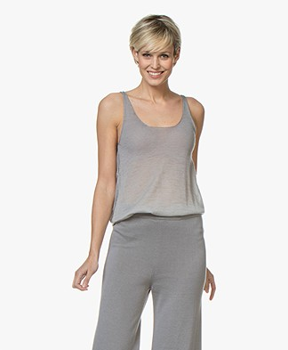 Fine Edge Degrade Pure Cashmere Top - Grey
