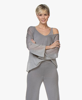 Fine Edge Degrade Cashmere V-neck Pullover - Grey