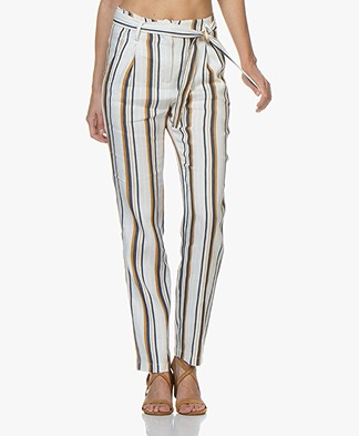 La Petite Française Philibert Striped Paperbag Pants - Matelas