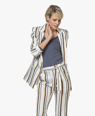La Petite Française Valence Striped Linen Blend Blazer - Matelas