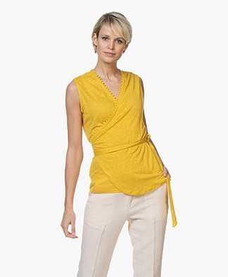 Majestic Filatures Linen Wrap Top with Broderie Details - Topaze