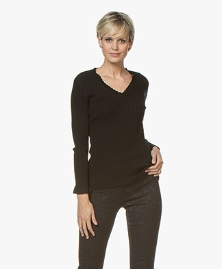 Belluna Space V-Neck Pullover with Ruffles - Noir