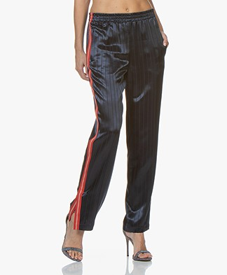 Rag & Bone Ryan Satin Pinstripe Track Pants - Night Blue