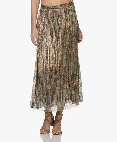 ba&sh Suzon Metallic A-line Midi Skirt - Green/Multicolored