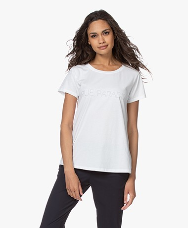 no man's land Rue Paradis Cotton T-shirt - White