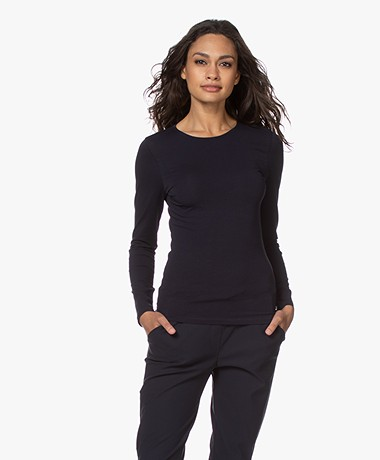 Filippa K Cotton Stretch Longsleeve - Navy