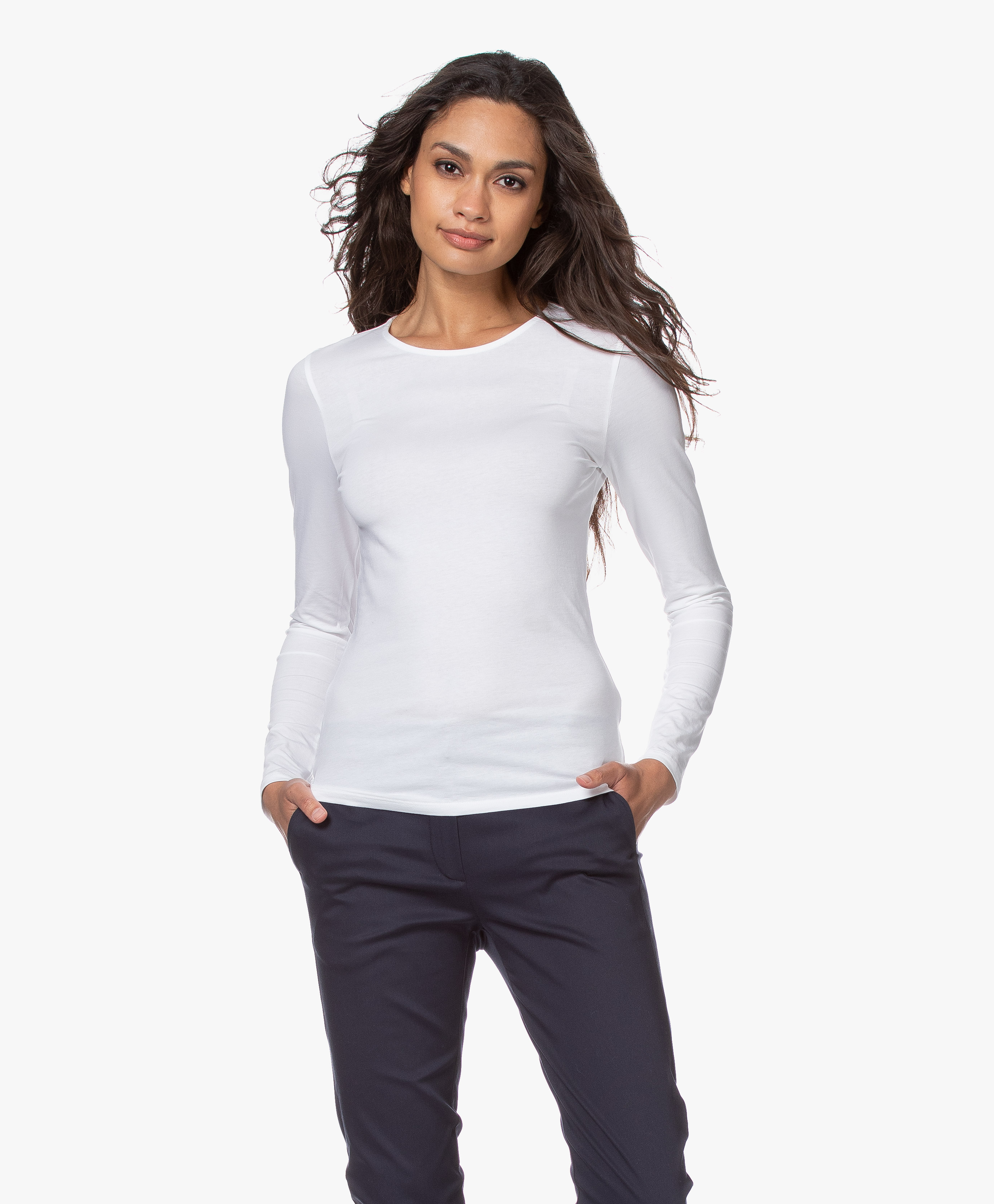 Filippa K Cotton Stretch Long Sleeve White 25332 1009