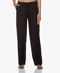 LaSalle Linen Loose-fit Pants - Black