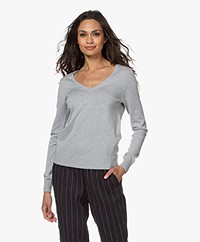 Repeat Cotton Blend V-neck Pullover - Grey