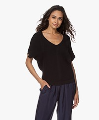 by-bar Suze Cotton Blend Short Sleeve Pullover - Jet Black