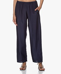 Pomandère Loose-fit Silk Pants - Blue Navy