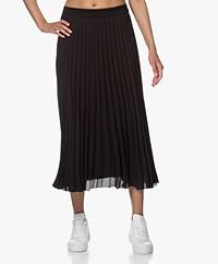 By Malene Birger Palmah Crepe Pleated Skirt  - Black