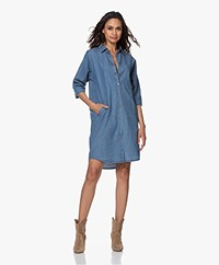 BY-BAR Bloeme Cropped Sleeve Shirt Dress - Denim