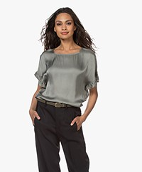 no man's land Satijnen Volant Blouse - Sage