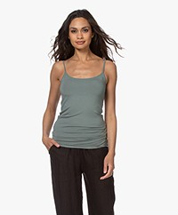 Closed Cotton Jersey Basic Top - Dusty Pine