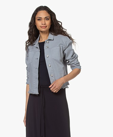Repeat Cotton Blend Twill Jacket - Dusty Blue