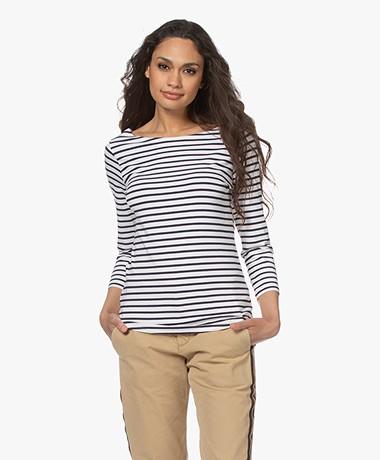 no man's land Striped Viscose Blend T-shirt - Dark Sapphire