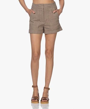 Vanessa Bruno Rick Checkered Linen Blend Shorts - Camel/Black