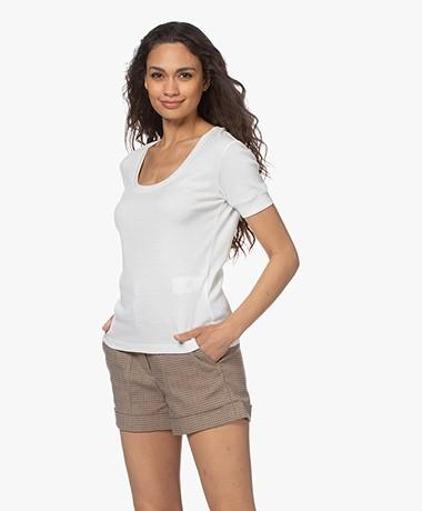 Closed Bio Katoenen Rib T-shirt - Ivoor