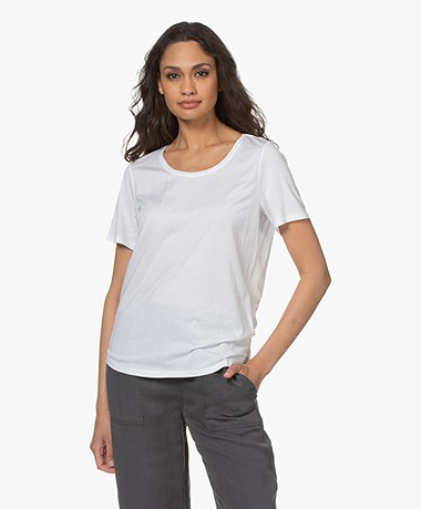 Repeat Jersey Lyocell Mix T-shirt - Wit