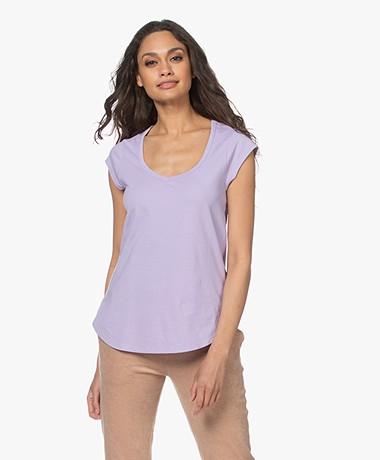 no man's land Katoenen V-hals T-shirt - Pale Lilac