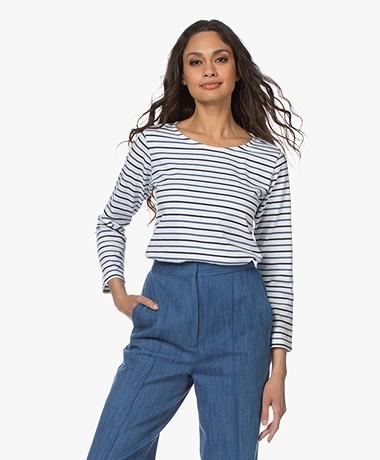 Plein Publique L'Aimee Gestreepte Longsleeve - Wit/Blauw/Jeans
