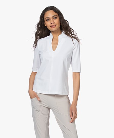 Woman by Earn Tul Tech Jersey Splithals T-shirt - Wit