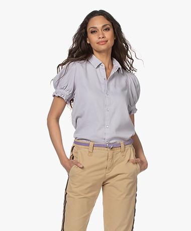 ba&sh Danee Short Puff Sleeve Shirt - Parme