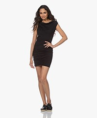 IRO Tucks Cotton Jersey Mini Dress - Black