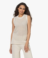 Joseph Sleeveless Cotton Mesh Sweater - Porcelain
