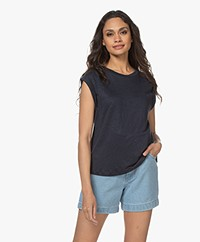 Closed Sleeveless Linen Jersey Top - Thunder Sky