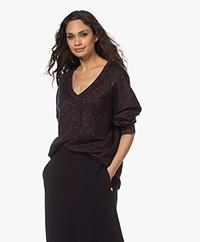 extreme cashmere N°161 Clac Lurex Cashmere Sweater - Navy
