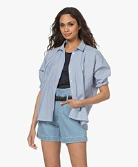 by-bar Norel Katoenen Krijtstreep Blouse - Indi Grey