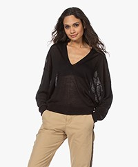 IRO Erica Linen Blend Sweater with Dolman Sleeves - Black