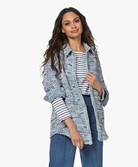 IRO Canelle Tweed Cotton Blend Jacket - Denim Blue